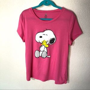 Peanuts Pink Graphic Tee 1x Snoopy Woodstock